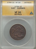Large Cents, 1794 1C Head of 1795 -- Cleaned -- ANACS. VF20 Details. S-57. NGCCensus: (27/323). PCGS Population (47/284). Mintage: 918...