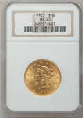Liberty Eagles: , 1905 $10 MS63 NGC. NGC Census: (291/221). PCGS Population(221/105). Mintage: 200,900. Numismedia Wsl. Price for problemfr...