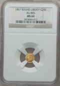 California Fractional Gold: , 1867 25C Liberty Round 25 Cents, BG-805, Low R.5, MS64 NGC. NGCCensus: (2/3). PCGS Population (17/11). ...