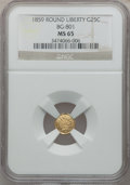 California Fractional Gold: , 1859 25C Liberty Round 25 Cents, BG-801, R.3, MS65 NGC. NGC Census:(12/11). PCGS Population (11/1). ...