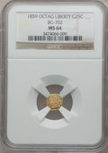 California Fractional Gold: , 1859 25C Liberty Octagonal 25 Cents, BG-702, R.3, MS64 NGC. NGCCensus: (13/32). PCGS Population (72/17). ...