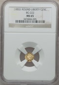 California Fractional Gold: , Undated 25C Liberty Round 25 Cents, BG-222, R.2, MS65 NGC. NGCCensus: (12/3). PCGS Population (16/2). ...