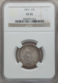 Seated Quarters: , 1863 25C VF35 NGC. NGC Census: (3/53). PCGS Population (5/66).Mintage: 191,600. Numismedia Wsl. Price for problem free NGC...