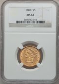 Liberty Half Eagles: , 1888 $5 MS61 NGC. NGC Census: (42/41). PCGS Population (40/74).Mintage: 18,296. Numismedia Wsl. Price for problem free NGC...