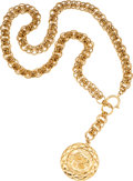 Luxury Accessories:Accessories, Chanel Gold Jumbo Chain Necklace with Shield Medallion. ...