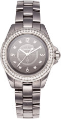 Luxury Accessories:Accessories, Chanel Burnished Stainless Steel Diamond Bezel J12 Watch with Diamond Markers. ...