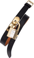 Luxury Accessories:Accessories, Hermes Gold Kelly Watch with Black Swift Leather Double-Tour Strap....