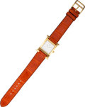 Luxury Accessories:Accessories, Hermes Gold H-Hour PM Watch with Orange H Alligator Strap. ...