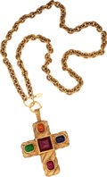 Luxury Accessories:Accessories, Chanel Gold Chain Necklace with Multicolor Gripoix Cross. ...
