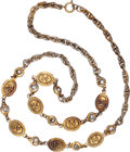 Luxury Accessories:Accessories, Chanel Gold Chain Necklace with CC Medallions & Rhinestones....