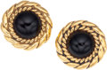 Luxury Accessories:Accessories, Chanel Gold & Black Cabochon Earrings. ...
