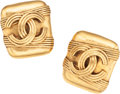 Luxury Accessories:Accessories, Chanel Gold CC Logo Clip-on Earrings. ...