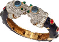 Luxury Accessories:Accessories, Kenneth Jay Lane Enamel Bangle with Dragon Heads. ...