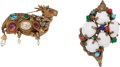 Luxury Accessories:Accessories, Kenneth Jay Lane Set of Two; Cabochon Seashell Pin & GripoixDeer Pin. ... (Total: 2 Items)
