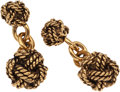 Luxury Accessories:Accessories, Chanel Gold Knotted Cufflinks. ...