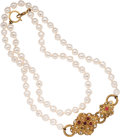 Luxury Accessories:Accessories, Chanel Large Pearl Necklace with Two Lobed Quatrefoils. ...