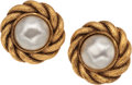 Luxury Accessories:Accessories, Chanel Large Pearl & Gold Rope Earrings. ...
