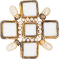 Luxury Accessories:Accessories, Chanel Gold & Pearl Maltese Cross Pin. ...