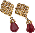 Luxury Accessories:Accessories, Chanel Gold & Red Gripoix Earrings. ...