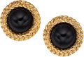 Luxury Accessories:Accessories, Chanel Large Black Cabochon & Gold Earrings. ...
