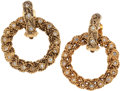 Luxury Accessories:Accessories, Chanel Gold Braided Convertible Hoop Earrings. ...