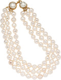 Luxury Accessories:Accessories, Chanel Large Pearl Three Strand Necklace. ...