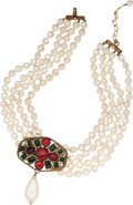 Luxury Accessories:Accessories, Chanel Pearl Four Strand with Red & Green Cabochon Necklace....