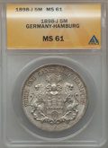 German States:Hamburg, German States: Hamburg. Free City 5 Mark 1898-J,...