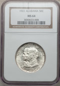 Commemorative Silver: , 1921 50C Alabama MS64 NGC. NGC Census: (797/447). PCGS Population(818/520). Mintage: 59,038. Numismedia Wsl. Price for pro...