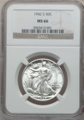 Walking Liberty Half Dollars: , 1942-S 50C MS66 NGC. NGC Census: (197/7). PCGS Population (412/2).Mintage: 12,708,000. Numismedia Wsl. Price for problem f...