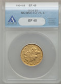 Classic Half Eagles: , 1834 $5 Plain 4 XF45 ANACS. NGC Census: (272/1397). PCGS Population(242/639). Mintage: 657,460. Numismedia Wsl. Price for ...
