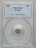 California Fractional Gold: , 1853 25C Liberty Octagonal 25 Cents, BG-102, Low R.4, MS63 PCGS.PCGS Population (38/20). NGC Census: (9/7). ...