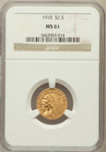 Indian Quarter Eagles: , 1910 $2 1/2 MS61 NGC. NGC Census: (1605/4999). PCGS Population(404/2171). Mintage: 492,000. Numismedia Wsl. Price for prob...