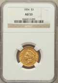 Three Dollar Gold Pieces: , 1854 $3 AU53 NGC. NGC Census: (348/2803). PCGS Population(384/1760). Mintage: 138,618. Numismedia Wsl. Price for problemf...