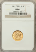 Liberty Quarter Eagles: , 1861 $2 1/2 New Reverse, Type Two MS61 NGC. NGC Census: (396/694).PCGS Population (108/496). Mintage: 1,283,878. Numismedi...