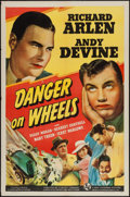"Movie Posters:Action, Danger on Wheels (Universal, 1940). One Sheet (27"" X 41""). Action.. ..."