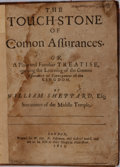 Books:Literature Pre-1900, William Sheppard. The Touchstone of Comon Assurances.London: Printed for W. Lee, et al, 1651. Later three-quart...