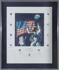 "Autographs:Celebrities, Alan Bean Large Limited Edition ""In the Beginning..."" FramedLithograph Signed by Twenty Apollo Astronauts...."