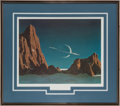 "Explorers:Space Exploration, Chesley Bonestell Signed ""Saturn as Seen from Titan"" FramedLithograph. ..."