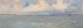 Paintings, AMERICAN SCHOOL (Early 20th Century). Coastal View from the Bay, circa 1918. Oil on board. 4 x 12 inches (10.2 x 30.5 cm...