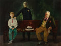 American, JACK LEVITZ (American, 20th Century). The Criminal, 1946.Oil on board. 25-1/2 x 33 inches (64.8 x 83.8 cm). Signed and ...