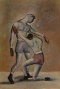 American, JACK LEVITZ (American, 20th Century). Boxing Match. Oil oncanvas. 27 x 18-1/2 inches (68.6 x 47.0 cm). Signed upper rig...