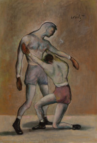 JACK LEVITZ (American, 20th Century) Boxing Match Oil on canvas 27 x 18-1/2 inches (68.6 x 47.0 c