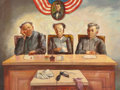 American, JACK LEVITZ (American, 20th Century). Three Judges ExaminingEvidence. Oil on canvas. 30 x 40 inches (76.2 x 101.6 cm). ...
