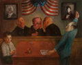 American, JACK LEVITZ (American, 20th Century). Young Boy and LawyerBefore Three Judges. Oil on canvas. 24 x 30 inches (61.0 x76...