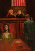 Miscellaneous, JACK LEVITZ (American, 20th Century). Trial Scene, Attorney and Dark Haired Woman with Necklace and Dagger Before Judges...