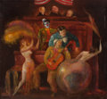 Fine Art - Painting, American:Contemporary   (1950 to present)  , JACK LEVITZ (American, 20th Century). Circus Performers on TrialBefore Three Judges. Oil on canvas. 32 x 36 inches (81....