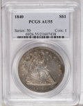 Seated Dollars: , 1840 $1 AU55 PCGS. The Mint produced only 61,005 business strikesfor this issue. The present...