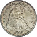 Seated Dollars: , 1848 $1 MS62 PCGS. Attractively toned in gold, dove-gray, andapple-green shades. This nicely...