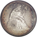 Seated Dollars: , 1850 $1 MS62 NGC. The reflective surfaces have pleasing gold patinaover both sides, with vio...